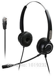 Extra 2 Ear Pads Binaural office phone Headset RJ9 plug for