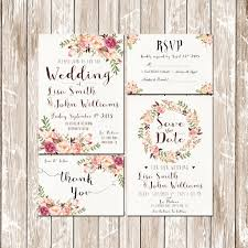 Invitation Kit Wedding Pink Floral Rustic Watercolor Set Suite Save The Date RSVP Thank You Cards Printable Digital Files PF 18
