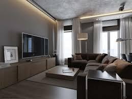wohnzimmer in grau mit moderner einrichtung in braun