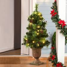 Costway 3Ft Pre Lit Christmas Entrance Tree W 40 LED Lights Red Berries Pine