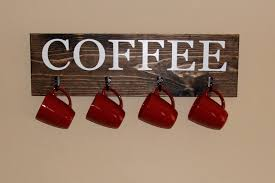 Coffee Signs Kitchen Decor Cup Rack Sign With Hooks Minimalist Design Pictures