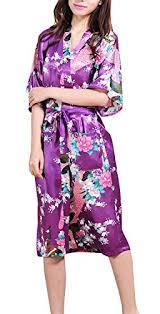 robe de chambre satin homme deley kimono de femme motif exotique paon fleur chemise de