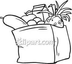 and White Full Bag of Groceries Royalty Free Clipart Picture