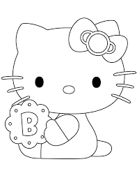 Hello Kitty Holding Biscuit Coloring Page