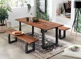 sit bank tables tops aus massiver akazie mit schwarzem metallgestell