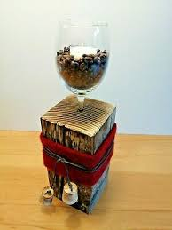 kerzenständer holz glas stehle tischdeko dekoration design wein kaffee kerzen ebay