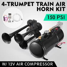 4-TRUMPET 150 PSI Air System 150dB+ Metal 12V Train Air Horn Kit For ... Philippines 4 Trumpet Vehicle Air Horn 12v24v Compressor Tubing Hornblasters Jackass 228v Kit Best Rated In Horns Helpful Customer Reviews Amazoncom Universal Fourtrumpet Air Train Horn For Cartruckboat Kleinn Pro Blaster Train Kits Hella Dual 24v Autoelec Warehouse Online Shop 12v Car Boat Truck 178db Tone Complete System With Compressor Tank And New Chrome W 150 Psi 3 Liter Malaysia Loud Easy To Fit Tech 12v Truck Youtube