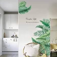 decalmile wandtattoo pflanze tropische verlässt wandsticker groß blätter grüne wandaufkleber wohnzimmer schlafzimmer flur wanddeko breite 90 cm