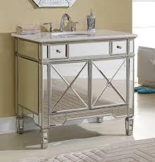 Ebay Bathroom Vanity Tops by Adelina 36 Inch Mirrored Silver Bathroom Vanity White Marble Top