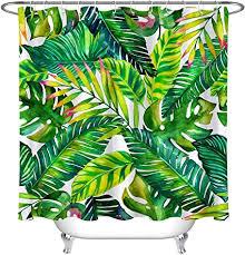 lb tropische pflanzen duschvorhang anti schimmel wasserdicht grün blätter bad vorhang weiß polyester badezimmer vorhäng mit haken 150x180cm