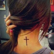 Simple Black Cross Tattoo For Girls On Back Neck