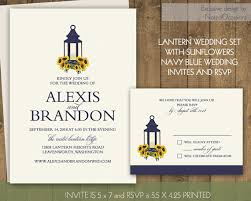 Sunflower Wedding Invitations Set Rustic Lantern Country Wedding