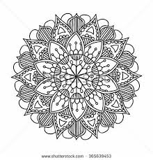 Ornamental Round Pattern With Floral Elements For Smart Modern Coloring Book Adult Shirt Design