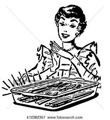 Stock Illustration A black and white version of a vintage style illustration of a woman
