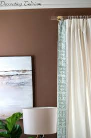 DIY Lucite Curtain Rods and Greek Key Trim Curtains