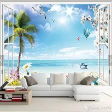 großhandel benutzerdefinierte mural tapete 3d französisch fenster romantische strand paar heißluftballon fototapete wohnzimmer schlafzimmer tapeten
