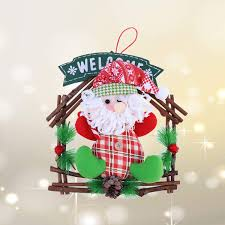 Buy YeahiBaby Christmas Rattan Ring Wreath Door Hanging Pendant
