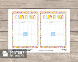Baby Sprinkle Party PRINTABLE Bingo Card