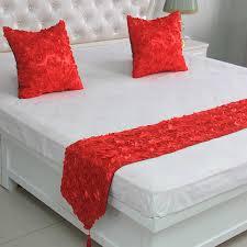 romantische rote bett runner luxus laciness bett schwanz handtuch bettwäsche schal hochzeit home hotel schlafzimmer dekorationen