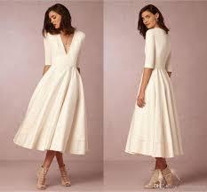 discount deep v neck bhdn beach wedding dresses half sleeves a