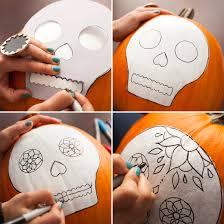 Skull Pumpkin Carving Stencils Free by No Carve Sugar Skull Pumpkins Sugar Skull Pumpkin Skull Pumpkin