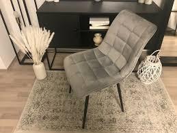 6 stühle stuh samt hellgrau grau schwarze beine schwarz esszimmer