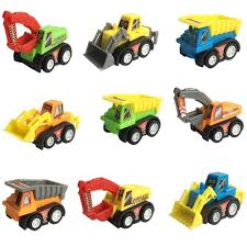 Mini Push Pull Back Truck Set - Includes Pack Of 9 Play Vehicle ...