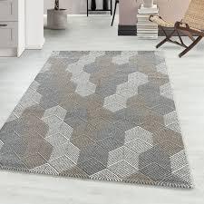 kurzflor modern teppich meliert wohnzimmerteppich soft beige teppium teppich market