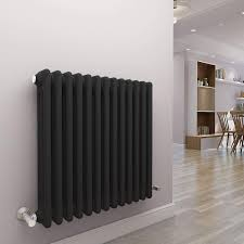 WarmeHaus Traditional Cast Iron Style Anthracite 3 Column Horizontal Radiator 600x605mm Modern Central Heating Space Saving Radiators Perfect For