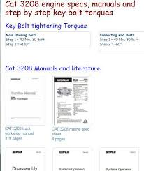 3208 cat specs caterpillar diesel engine specs bolt torques and manuals