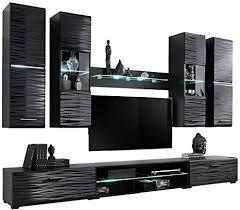 kryspol wohnwand blade 4 anbauwand wohnzimmer set modern design schwarz glanz