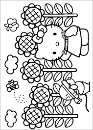 Hello Kitty Sunflower Coloring Page