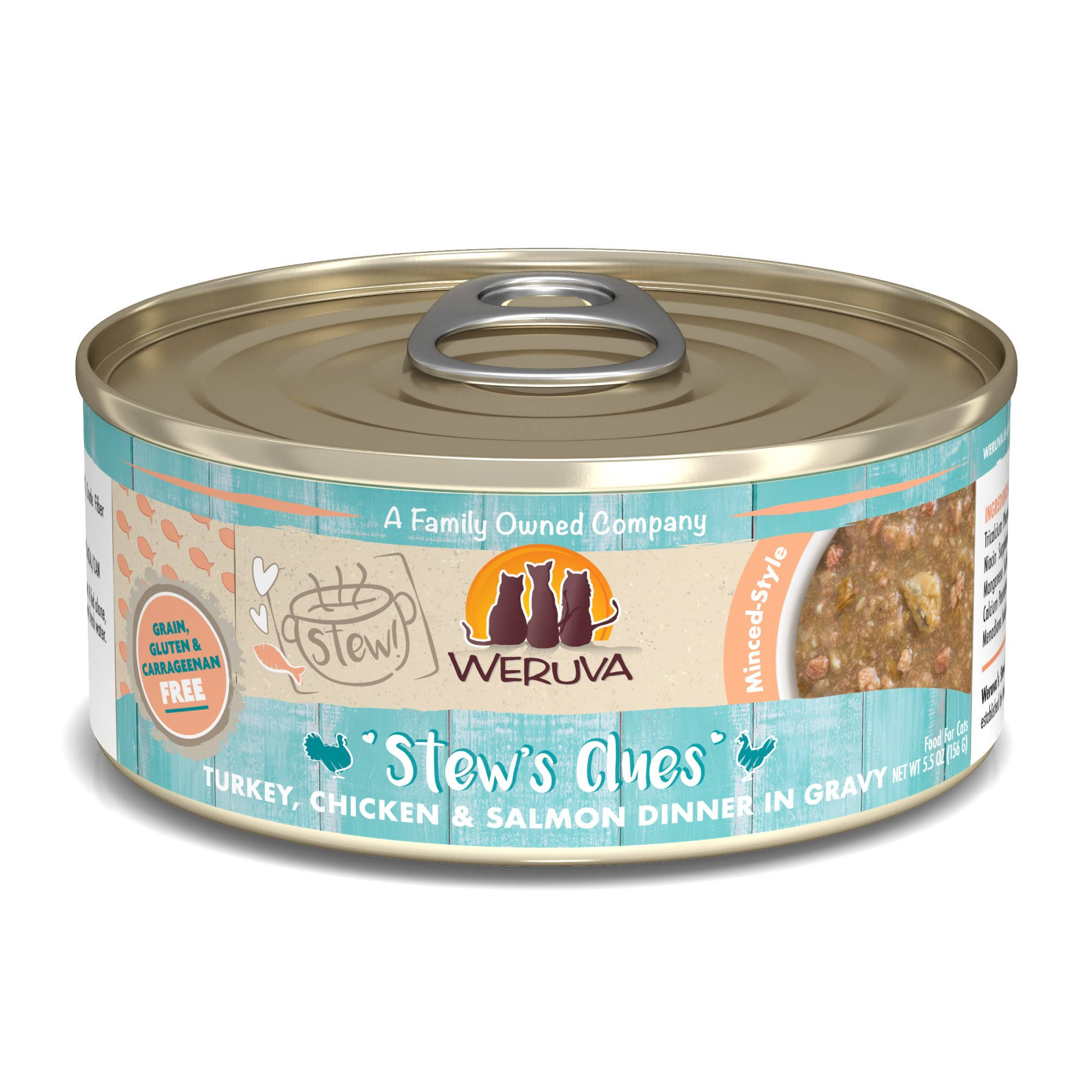 Weruva Stew! Stew's Clues Turkey, Chicken & Salmon Dinner in Gravy Food for Cats - 5.5 oz