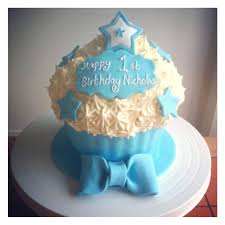 Baby boys 1st birthday cupcake