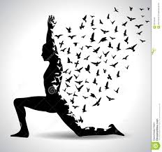 Yoga Pose With Birds Flying From Human Body Black And White Poster Stock Photos