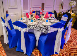 Royal Blue Spandex Chair Covers With White Satin Chair Sashes, Zebra ... Chair Cover Hire In Liverpool Ozzy James Parties Events Linen Rentals Party Tent Buffalo Ny Ihambing Ang Pinakabagong Christmas Table Decor Set Big Cloth The Final Details Chair And Table Clothes Linens Custom Folding Covers 4ct Soft Gold Shantung Tablecloths Sashes Ivory Polyester Designer Home Amazoncom Europeanstyle Pastoral Tableclothchair Cover Cotton Hire Nottingham Elegance Weddings Tablecloths And For Sale Plaid Linens