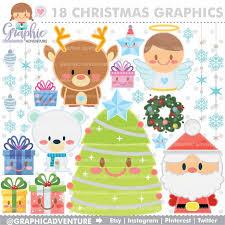 Christmas Clipart Graphics COMMERCIAL USE Kawaii Clip Art