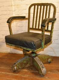 Industrial Swivel Office Chair Leather Metal Desk Vintage Retro Antique  Machinist Factory Old Seating