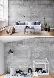wooden concrete wandgestaltung tapete tapeten wohnzimmer