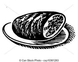 A black and white version of a vintage print of a ham stock