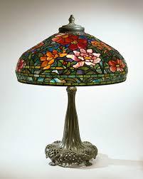 tiffany studios peony library l c 1906 leaded glass bronze