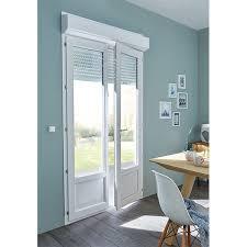 porte fenêtre pvc blanc 2v 120 x h 215 cm volet roulant castorama