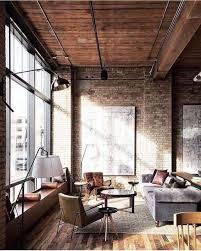 Interior Industrial Living Rooms Interiors Brick Apartment