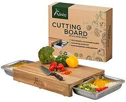 alivio schneidebrett mit auffangschale cutting board akazien holz kein bambus set 2 groß gastro behälter edelstahl für küchenabfälle