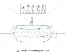 vektor clipart gezeichnet badezimmer interior