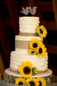 Rustic Wedding Cake W Sunflowers Burlap And Wood Birds Topper