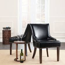 100 Black Leather Side Dining Chairs Shop Safavieh En Vogue Loire Nailhead