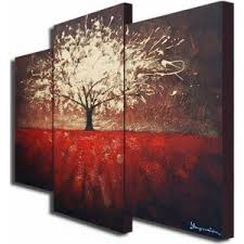 Over Sized 3 Piece Canvas Wall Art Sets Offset Autumn Abstract Floral Painting Telephone Tree Nature