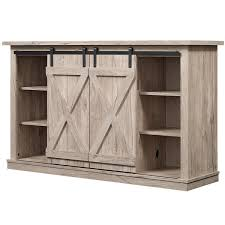Rustic TV Stand Console Barn Door Wood Entertainment Center Media Storage Pine