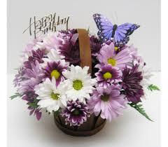 Happy Birthday Purple Butterfly Basket View r